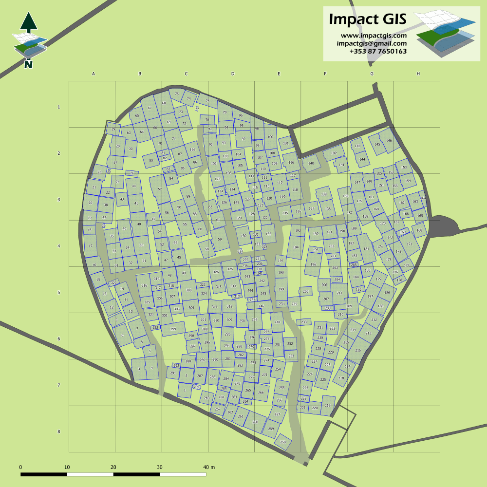 Map of plots with reference grid